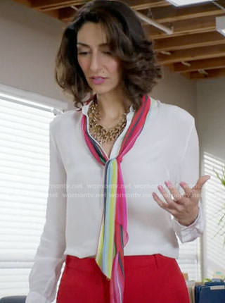 Delia's white blouse with rainbow tie neck on Girlfriends Guide to Divorce