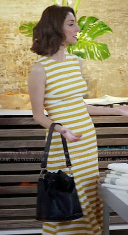 Delia's yellow striped dress with open back on Girlfriends Guide to Divorce