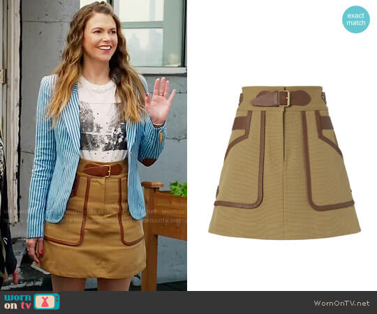 10 Crosby Derek Lam Leather Trimmed Khaki Skirt worn by Liza Miller on Younger