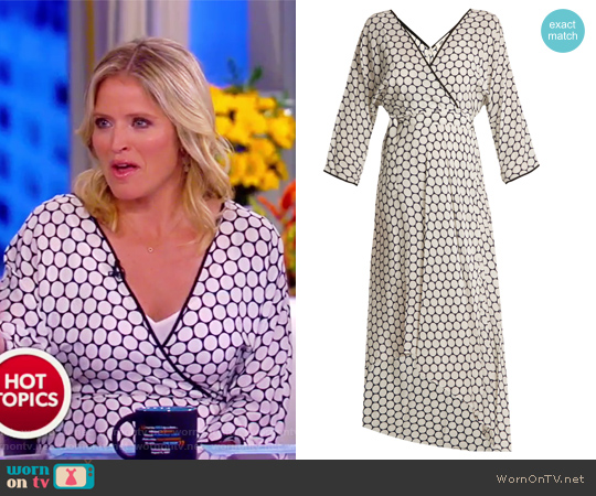 Asymmetric polka-dot silk midi wrap dress by Diane von Furstenberg worn by Sara Haines on The View