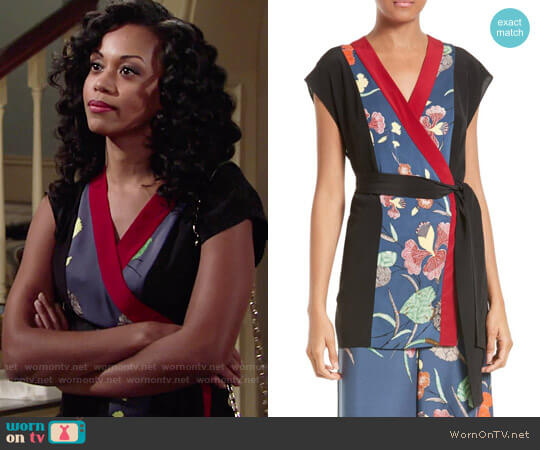 Diane von Furstenberg Print Stretch Silk Wrap Kimono Top worn by Mishael Morgan on The Young & the Restless