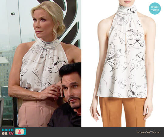 Diane von Furstenberg Print Silk High Neck Blouse worn by Katherine Kelly Lang on The Bold & the Beautiful