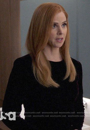 Donna's long sleeved velvet dress on Suits