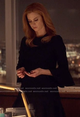 Donna's black bell-sleeve dress on Suits