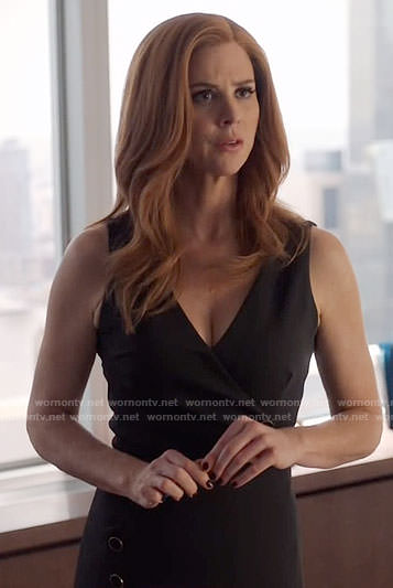 Donna's black dress with buttons on Suits