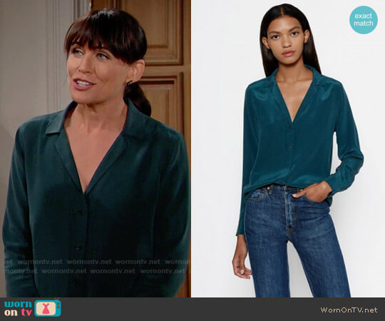 Equipment Adalyn Silk Shirt in Eden Green worn by Rena Sofer on The Bold & the Beautiful