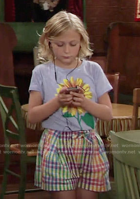 Faith's sunflower tee and checked shorts on The Young and the Restless