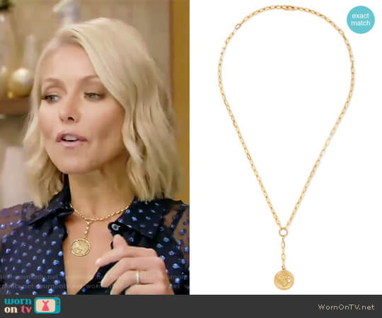 Karma 18-karat gold diamond necklace by Foundrae worn by Kelly Ripa on Live with Kelly & Ryan