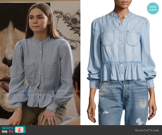 Frame Double-Pocket Peplum Denim Blouse worn by Maia Mitchell on The Fosters