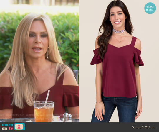 Fawn Cold Shoulder Sweetheart Top by Francescas worn by Tamra Judge on The Real Housewives of Orange County