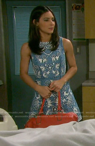 Gabi's denim dress with white embroidery on Days of our Lives