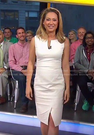 Ginger's cream split neck sleeveless dress on Good Morning America
