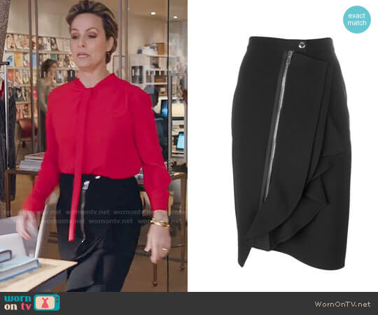 Givenchy Asymmetric Ruffle Trim Skirt worn by Melora Hardin on The Bold Type