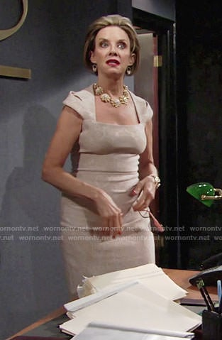 Gloria's beige floral dress on The Young and the Restless