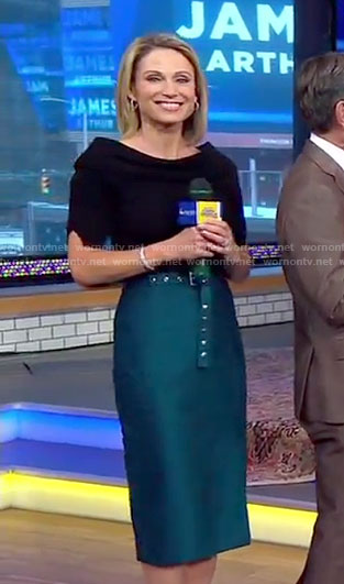 Amy's black top and green belted pencil skirt on Good Morning America