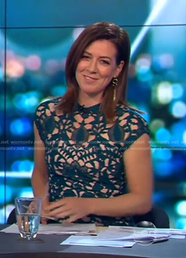 Gorgi's green lace cutout dress on The Project