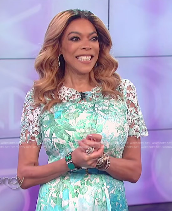 Wendy's green lace trimmed ombre dress on The Wendy Williams Show