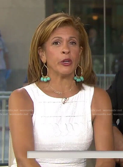 Hoda's green pom pom earrings on Today