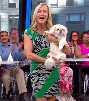 Lara's green striped tiger dress on Good Morning America