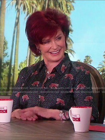 Sharon's tiger print silk button up top on The Talk