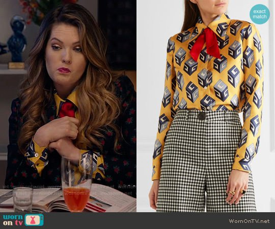 Gucci Pussy-bow printed silk-twill shirt worn by Meghann Fahy on The Bold Type