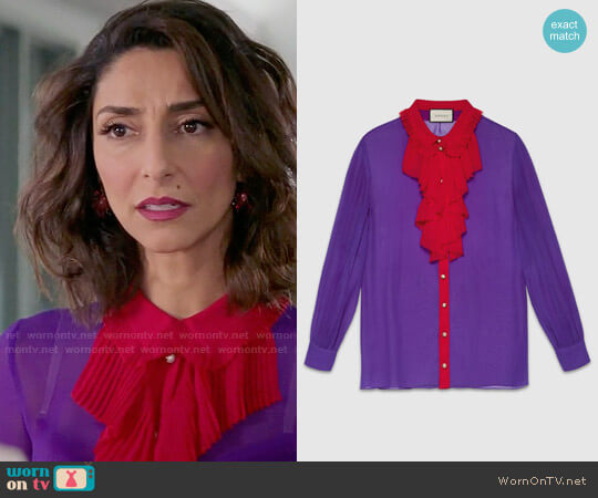 Gucci Silk Ruffle Front Shirt worn by Delia (Necar Zadegan) on GG2D