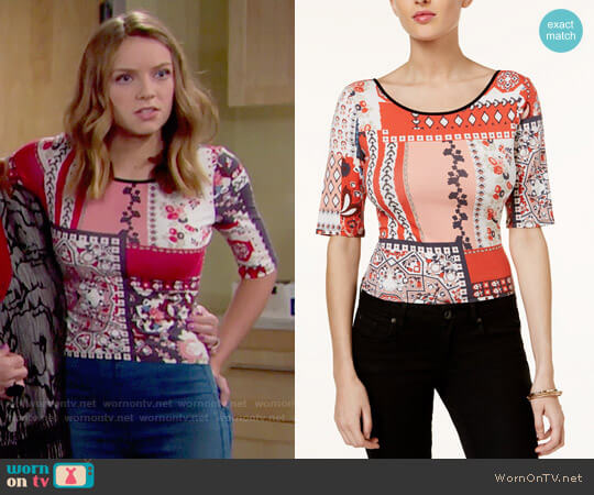 Guess Printed Tie-back Top worn by Courtney Grosbeck on The Bold & the Beautiful