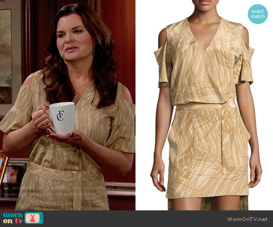 Halston Heritage Khaki Botanical Print Cold Shoulder Dress worn by Heather Tom on The Bold & the Beautiful