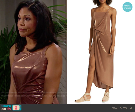 Halston Heritage Metallic Jersey Dress in Copper worn by Karla Mosley on The Bold & the Beautiful
