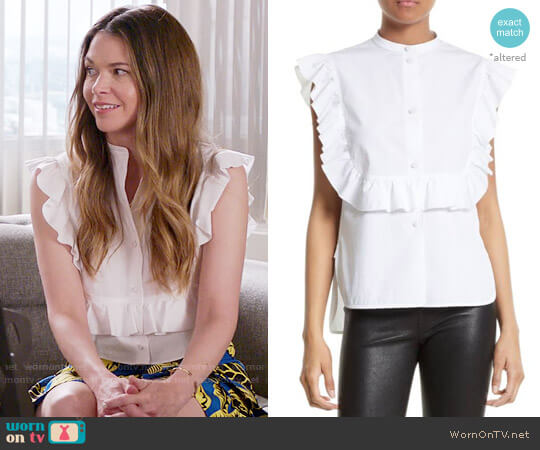 Helmut Lang Ruffle Bib Cotton Shirt worn by Sutton Foster on Younger