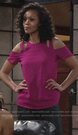 Hilary's pink cold-shoulder top on The Young and the Restless