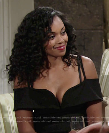 Hilary's black off-shoulder dress on The Young and the Restless