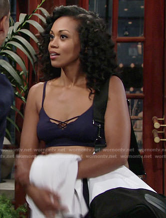 Hilary's navy criss-cross sports bra and gym bag on The Young and the Restless