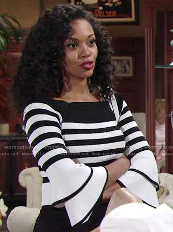 Hilary's striped bell-sleeve sweater on The Young and the Restless