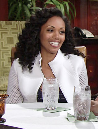 Hilary's white jacket with perforated sleeves on The Young and the Restless