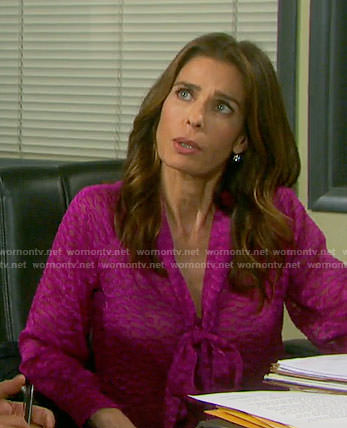 Hope's pink textured tie-neck blouse on Days of our Lives