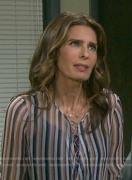 Hope's striped lace-up blouse on Days of our Lives