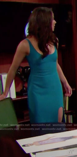 Ivy's blue dress with thigh split on The Bold and the Beautiful