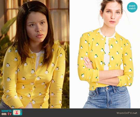 J. Crew Cotton Jackie Cardigan in Lemon Print worn by Cierra Ramirez on The Fosters