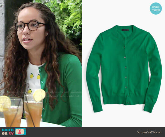 J. Crew Cotton Jackie Cardigan in Warm Jade worn by Lexie Stevenson on The Young & the Restless