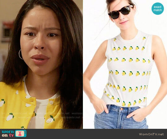 J. Crew Cotton Jackie Shell in Lemon Print worn by Cierra Ramirez on The Fosters