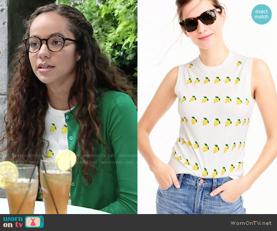 J. Crew Cotton Jackie Shell in Lemon Print worn by Lexie Stevenson on The Young & the Restless