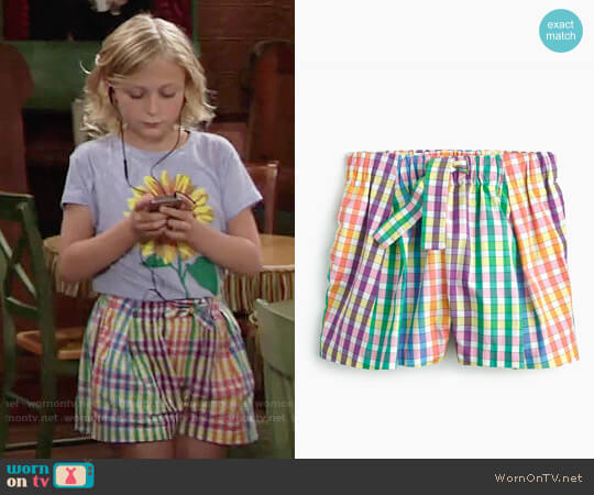 J. Crew Girls' Tie-waist Pull-on Short in Rainbow Check worn by Alyvia Alyn Lind on The Young & the Restless