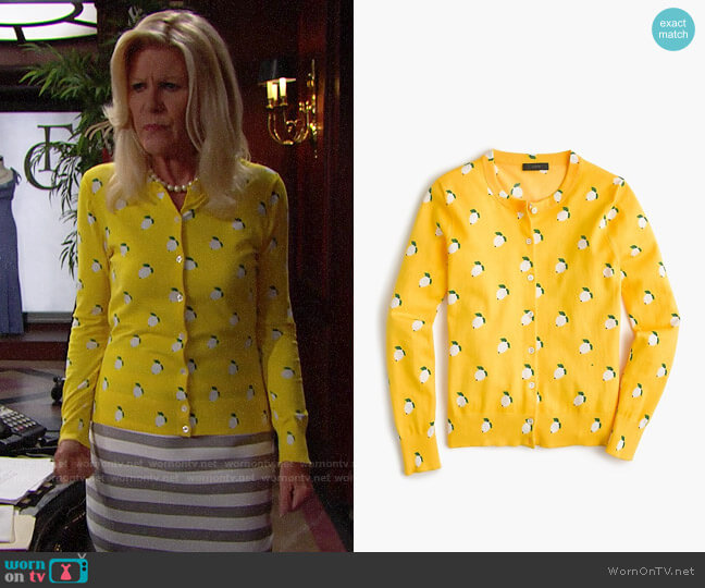 J. Crew Cotton Jackie Cardigan in Lemon Print worn by Alley Mills on The Bold & the Beautiful
