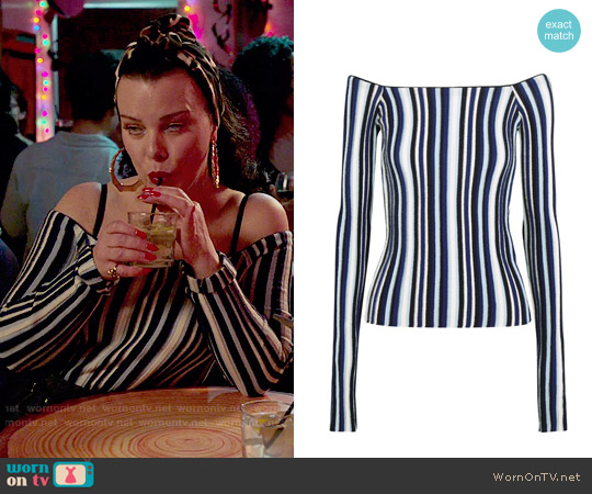 Jacquemus Off-the-shoulder striped ribbed wool sweater worn by Debi Mazar on Younger