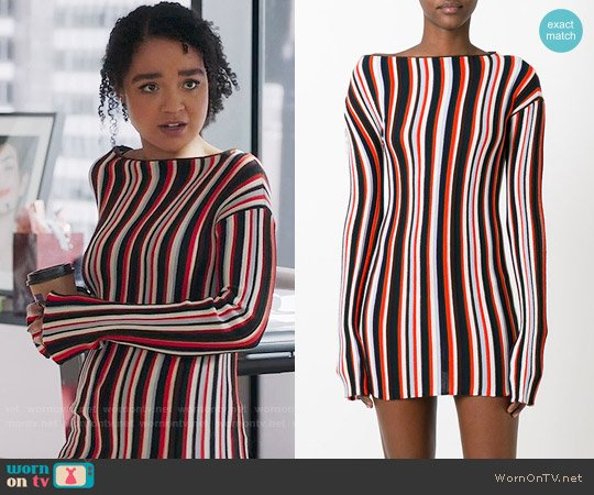 Jacquemus Striped Knitted Mini Dress worn by Aisha Dee on The Bold Type