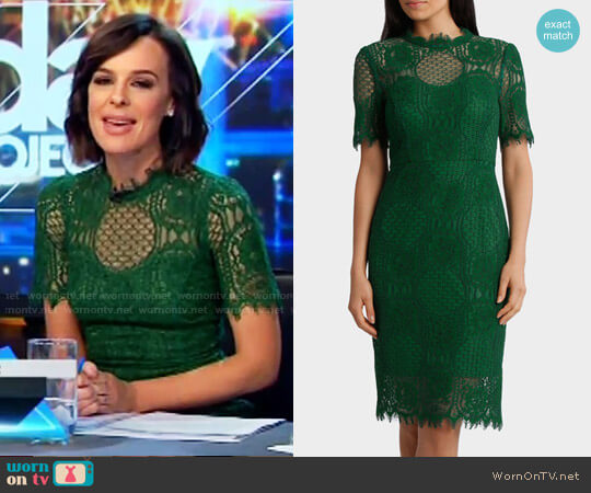 Jayson Brundson Cap Sleeve Green Lace Dress worn by Natarsha Belling on The Project