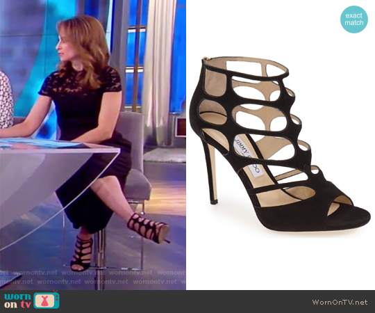Ren100 Suede Cutout Peep Toe Sandles by Jimmy Choo worn by Jedediah Bila on The View