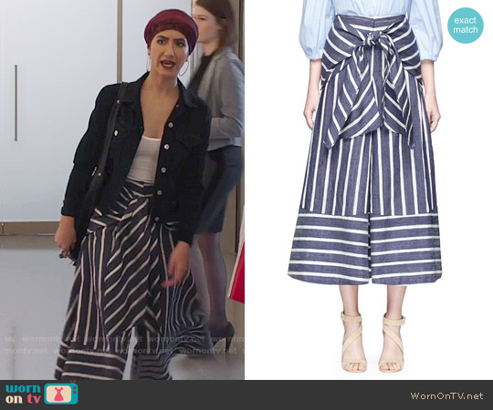Johanna Ortiz Merrymack Tie Waist Stripe Raw Silk Culottes worn by Nikohl Boosheri on The Bold Type