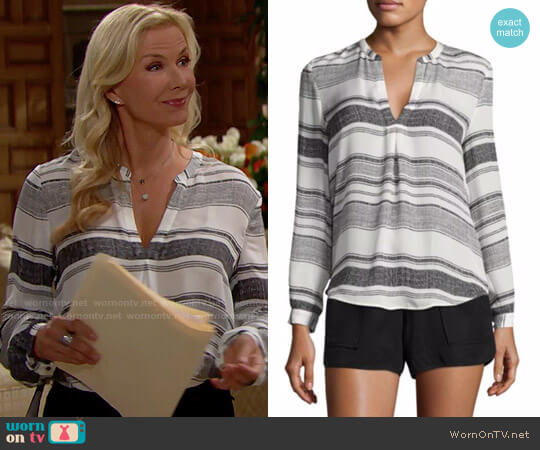 Joie Obeline Striped Top worn by Katherine Kelly Lang on The Bold & the Beautiful